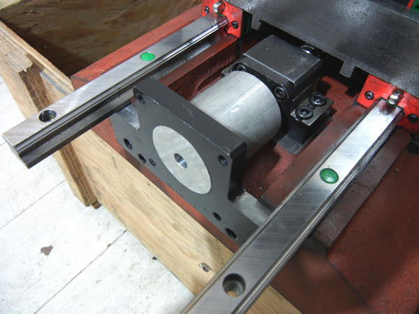 Stepper mounting drilling jig in place
